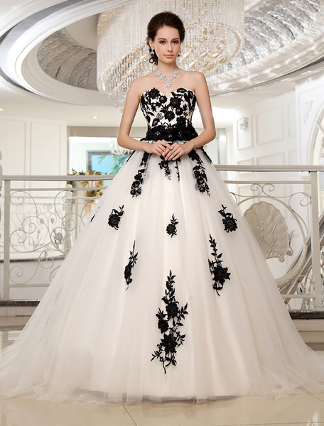 Milanoo Wedding Dresses Strapless Black Bridal Gown Lace Applique Flowers Sash Beaded Court Train Ivory Tulle Bridal Dress