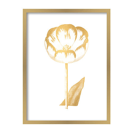 Boston Warehouse 19x25 Gilded Botanical V Framed Art, One Size , Yellow
