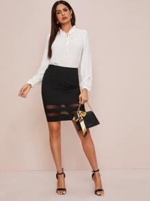 Zipper Detail Sheer Mesh Inset Bodycon Skirt