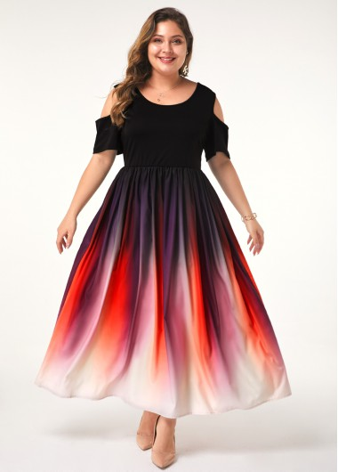 Women'S Plus Size Cold Shoulder Dress Half Sleeve Maxi Gradient Ombre Dip Dye Casual Dress By Rosewe - 1X
