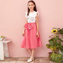 Girls Elastic Waist Bow Front Flare Skirt
