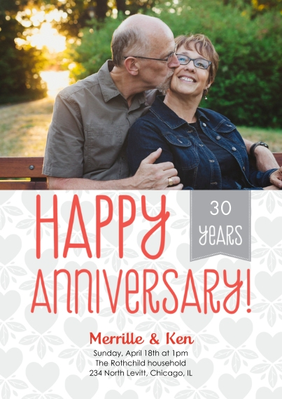 Anniversary 5x7 Cards, Standard Cardstock 85lb, Card & Stationery -Happy Anniversary Ribbon