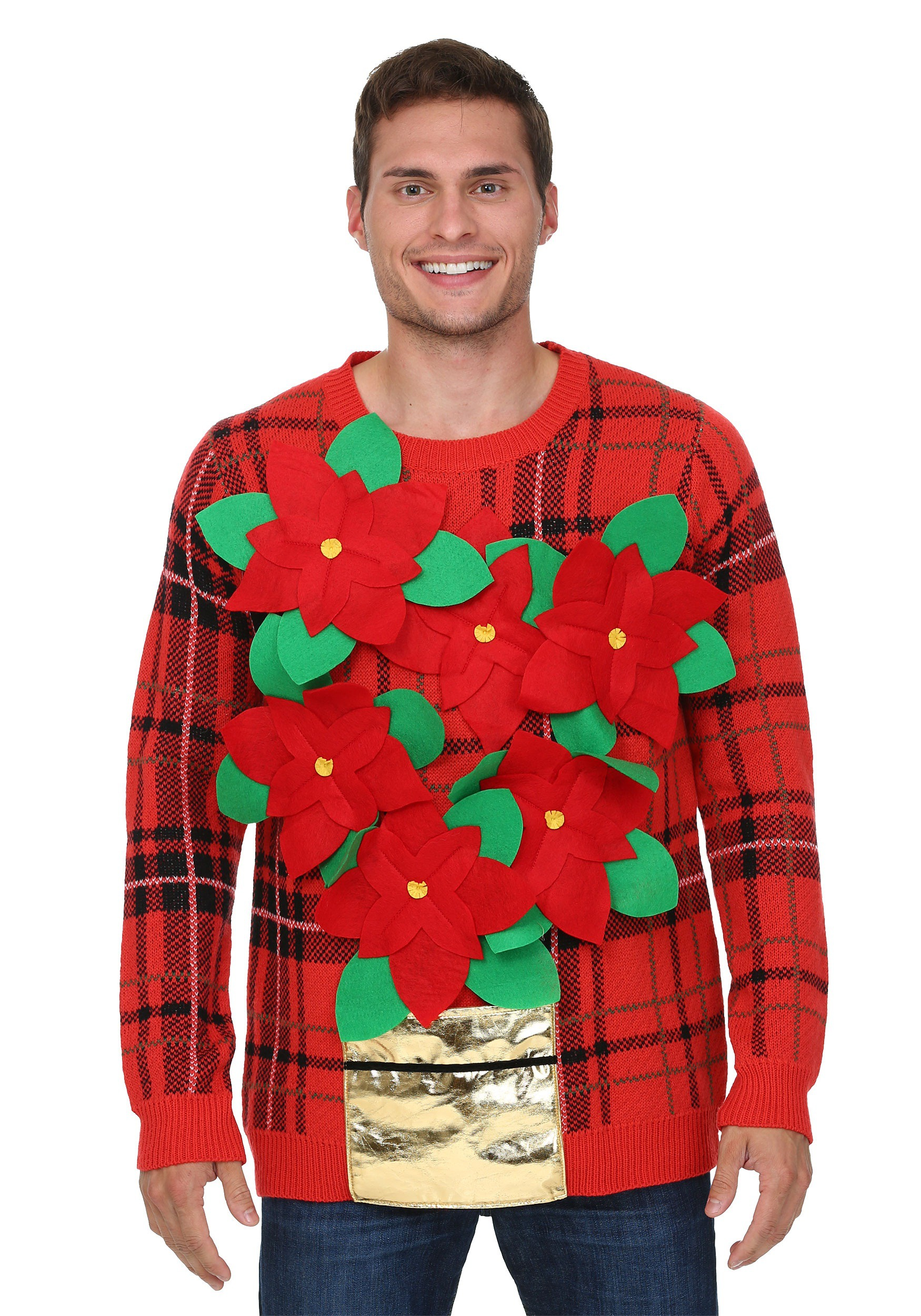 Poinsettia Bouquet Ugly Christmas Sweater for Adults