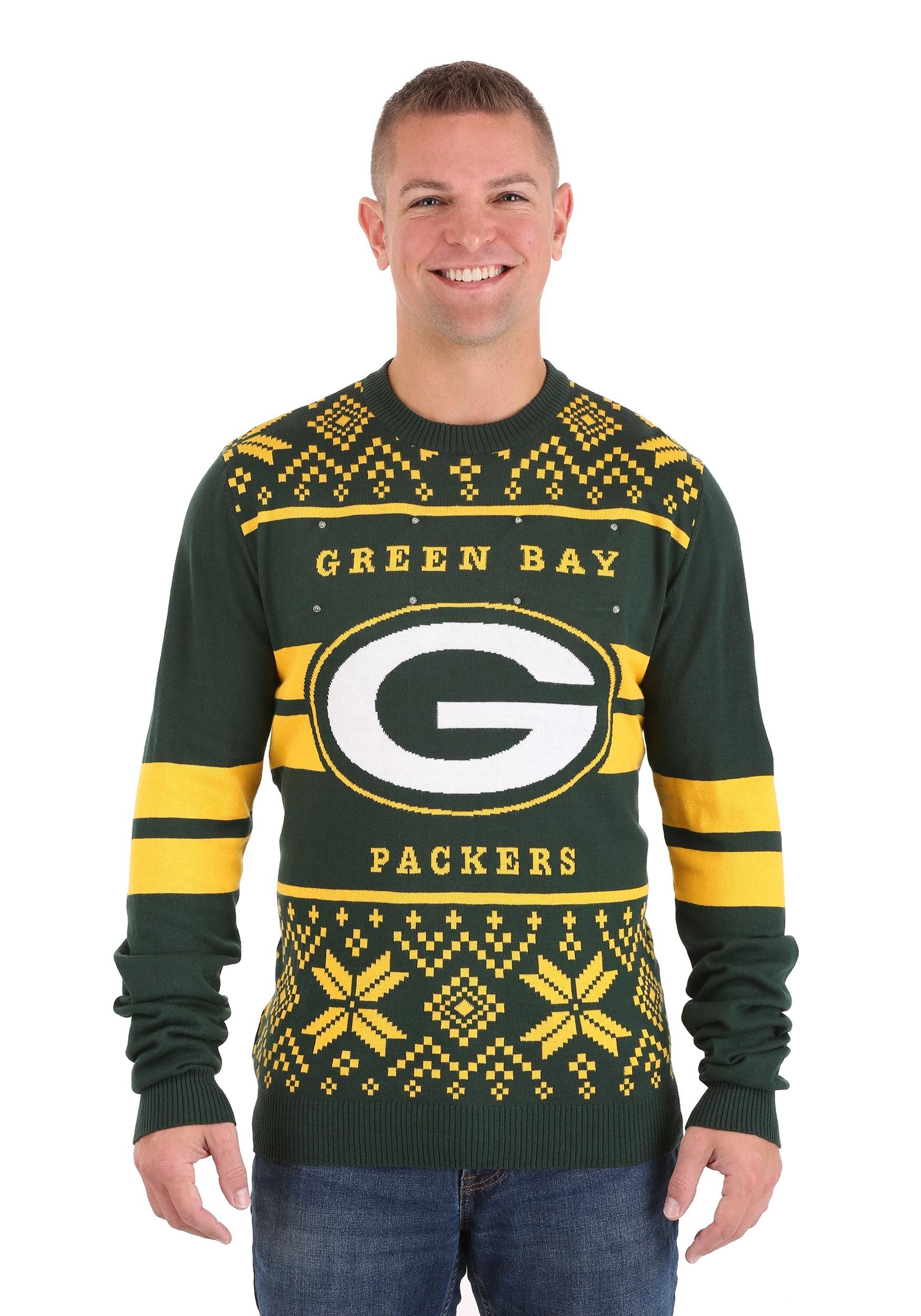 Green Bay Packers 2 Stripe Big Logo Light-Up Sweater
