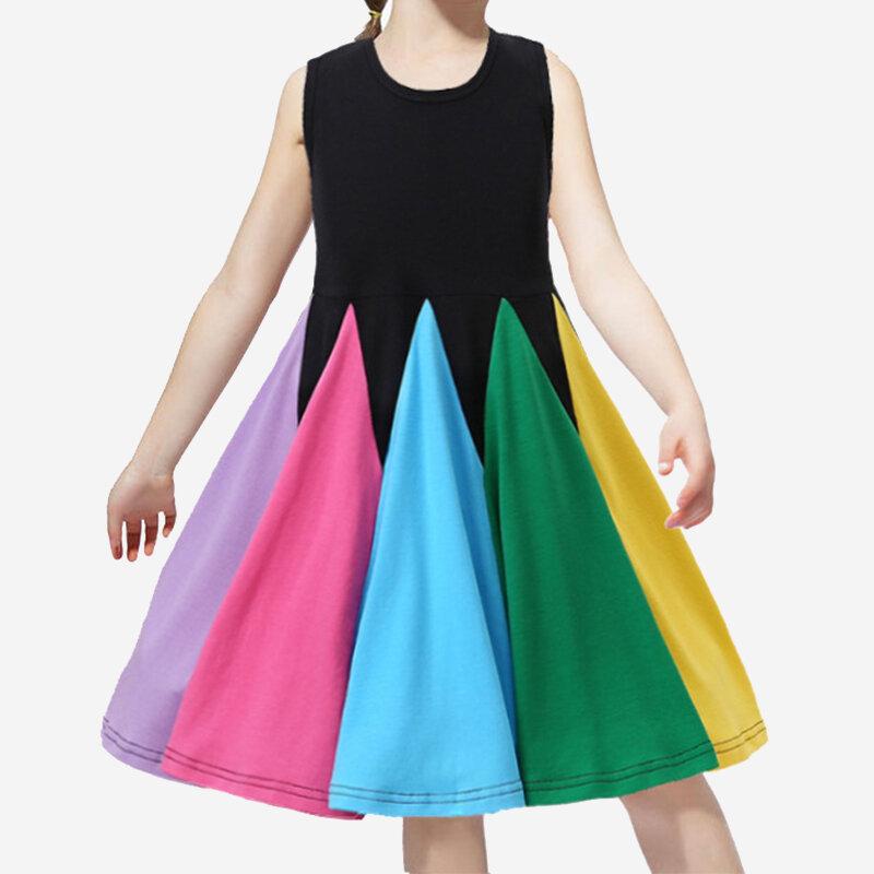 Girl's Sleeveless Rainbow Princess Dress For 2-8Y