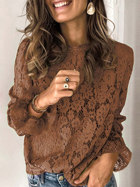 Milanoo Blouse For Women Greeen Acrylic Jewel Neck Cut Out Flower Embroidered Long Sleeves Tops