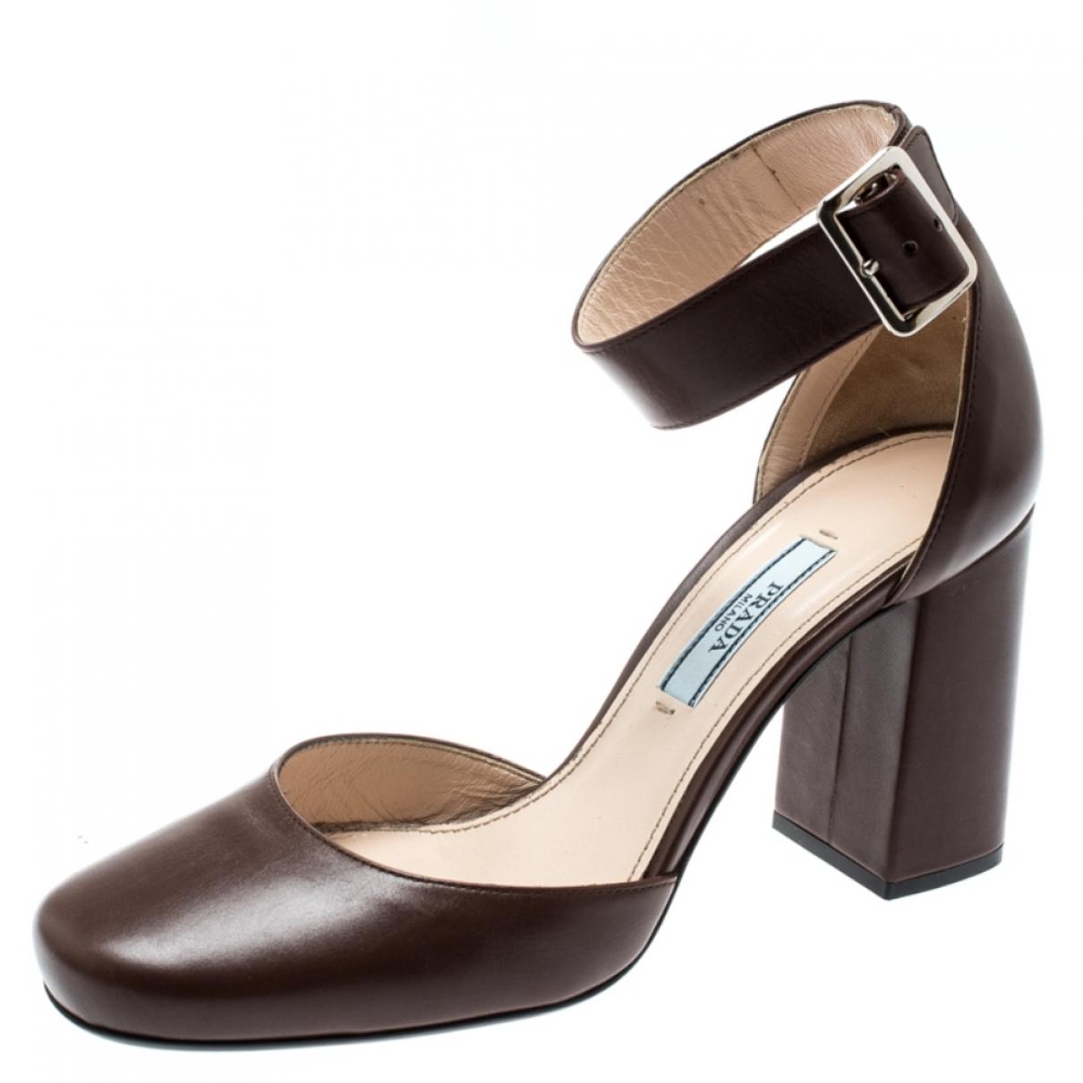 Prada \N Brown Leather Heels for Women 6 US