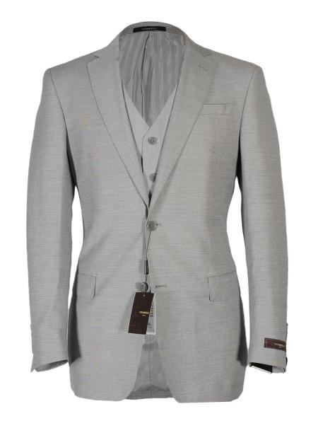 Vitarelli Men's Light Gray Notch Lapel Fashion Fit Cut Vested Suit