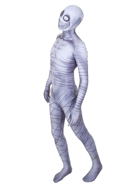 Milanoo Grey Skeleton Print Zentai Suit Full Body Lycra Spandex Bodysuit
