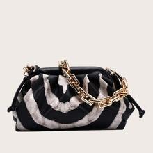 Chain Handle Color Block Shoulder Bag