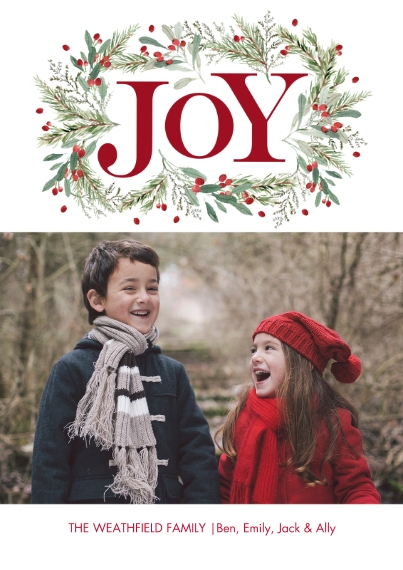 Christmas Photo Cards 5x7 Cards, Premium Cardstock 120lb with Scalloped Corners, Card & Stationery -Christmas Joy Garland by Tumbalina