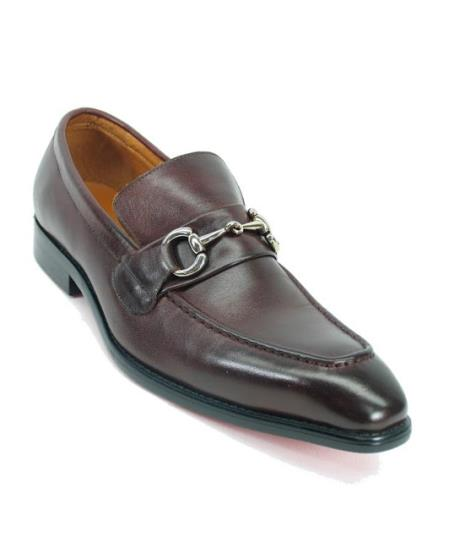 Men's Fashionable Slip On Brown Leather Style Shoe With Silver Buckle