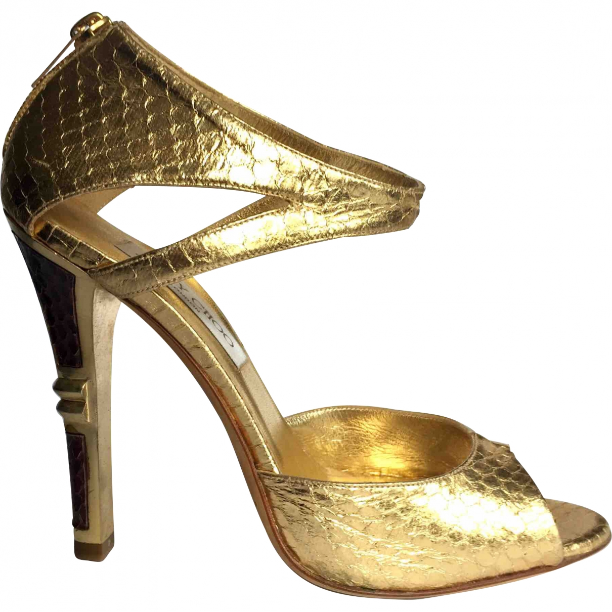 Jimmy Choo \N Gold Python Sandals for Women 38.5 EU
