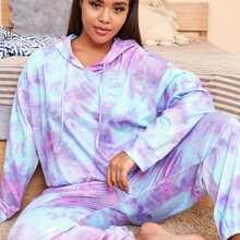 Schlafanzug Set mit Batik und Kordelzug