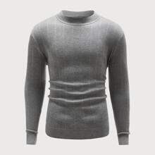 Einfarbiger Pullover mit Rundhalsausschnitt