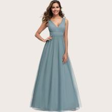 Kleid mit V Ausschnitt, Plissee und Netzstoff