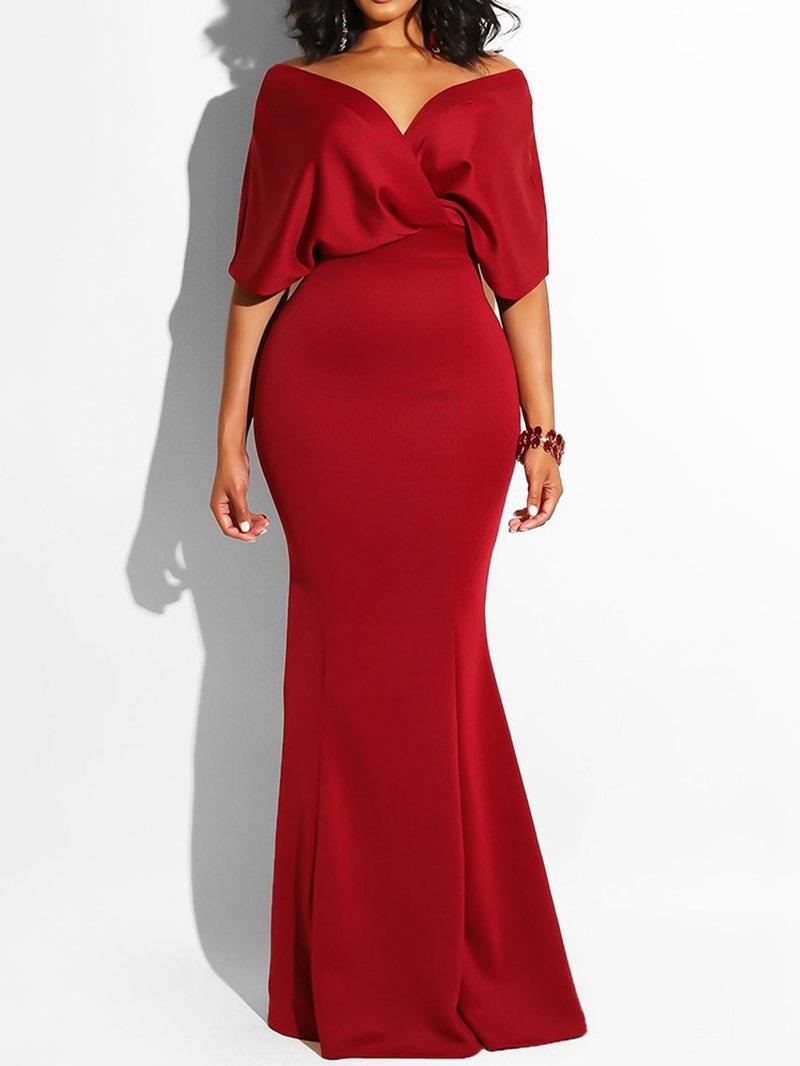 Ericdress V-Neck Floor-Length Pullover Bodycon Mermaid Dress