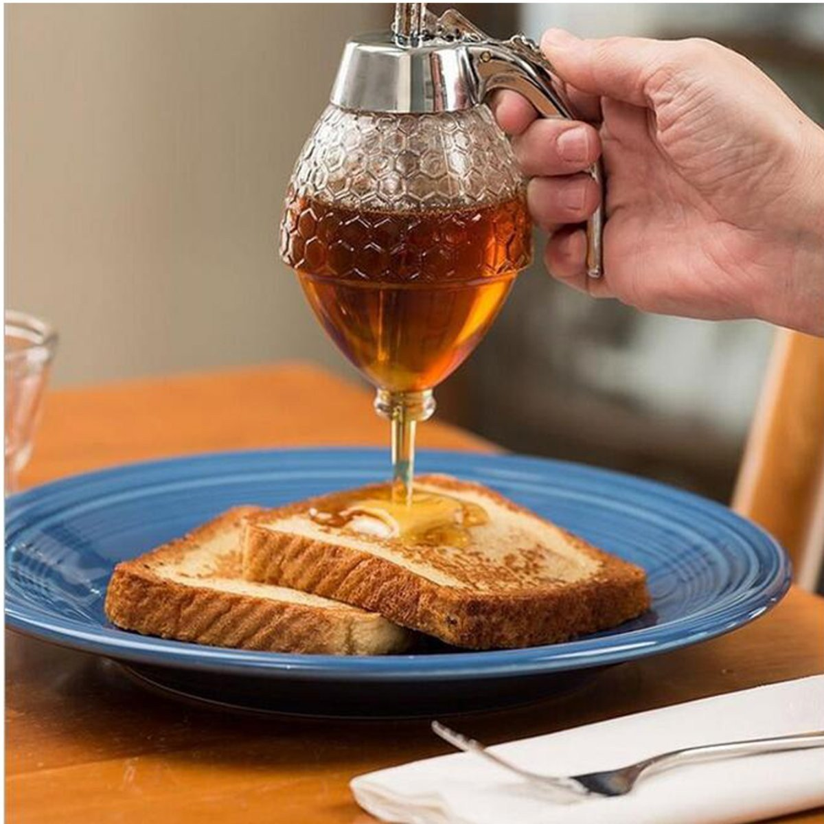 200ML Glass Jar Syrup Pot Honey Dispenser Container Hive Bee Bottle Spice Holder