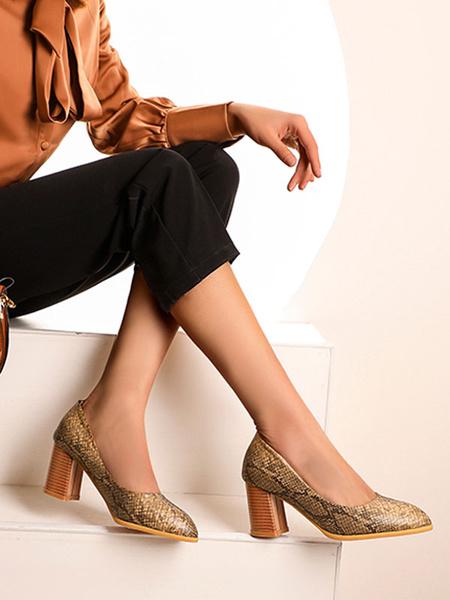 Milanoo Women\s Mid-Low Heels Oragnge Red Pattern Pointed Toe Chunky Heel Slip-On Pumps