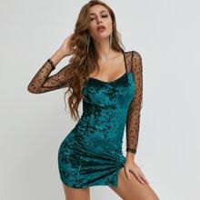 Sheer Star Mesh Yoke Slit Hem Velvet Dress