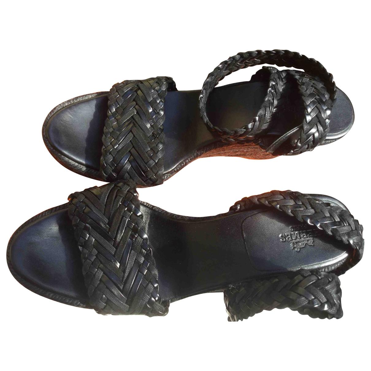 Hermes - Espadrilles   pour femme en cuir - noir