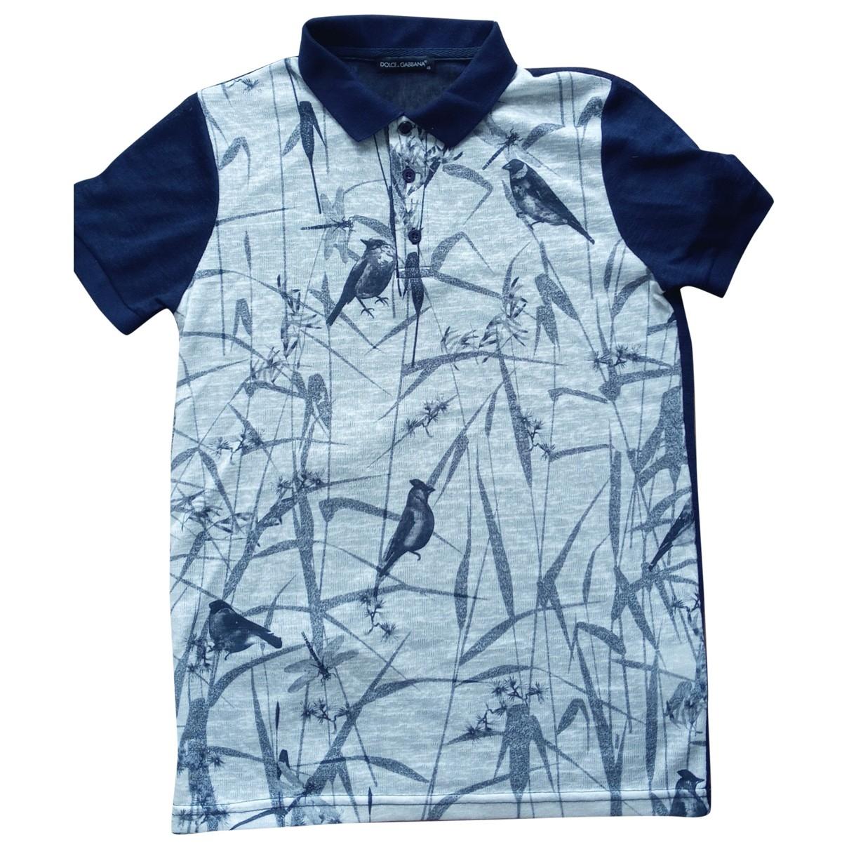 Dolce & Gabbana - Polos   pour homme en lin - bleu