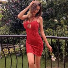 Zip Back Cut-out Double Straps Velvet Bodycon Dress