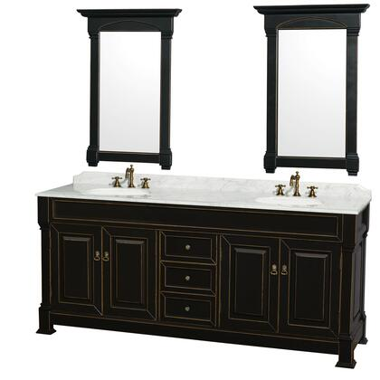 WCVTRAD80DBKCMUNDM28 80 in. Double Bathroom Vanity in  Antique Black with White Carrera Marble Top with Undermount Round Sinks and 28 in.