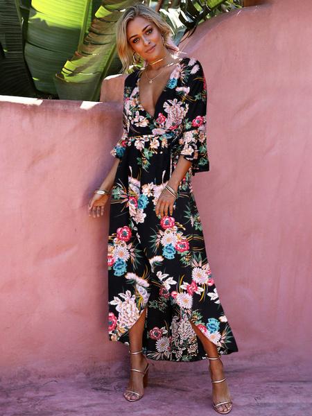 Milanoo Floral Maxi Dress Women Tea Dress V Neck Flared Sleeve Print Split Long Warp Dress