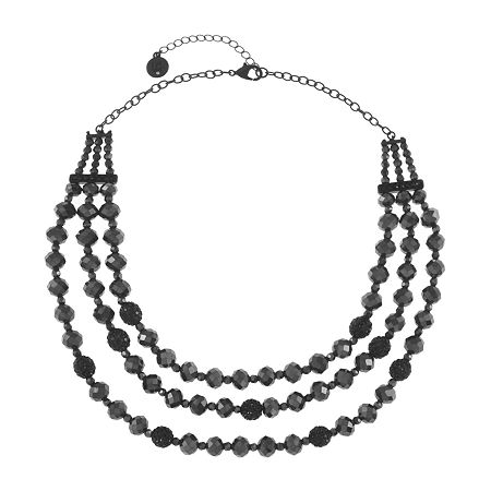 Liz Claiborne 17 Inch Cable Round Collar Necklace, One Size , Black