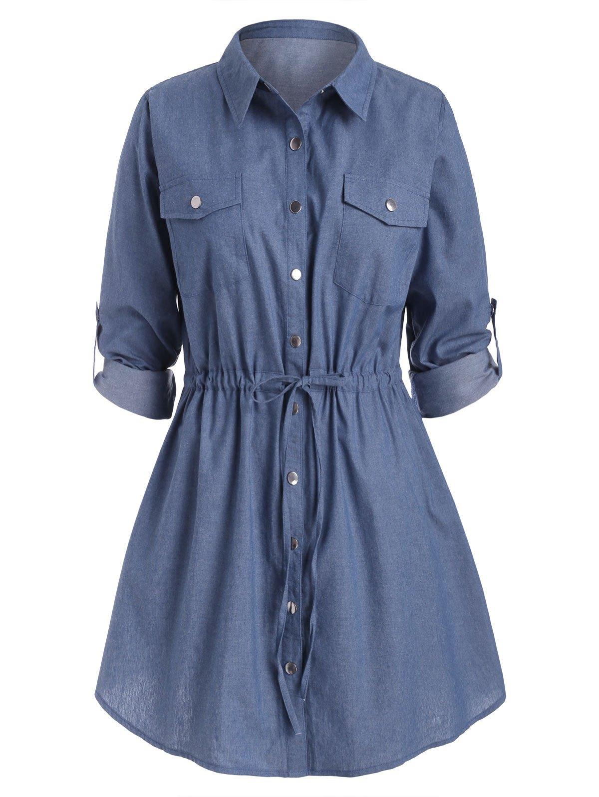 Plus Size Waist Drawstring Chambray Snap Button Shirt Dress