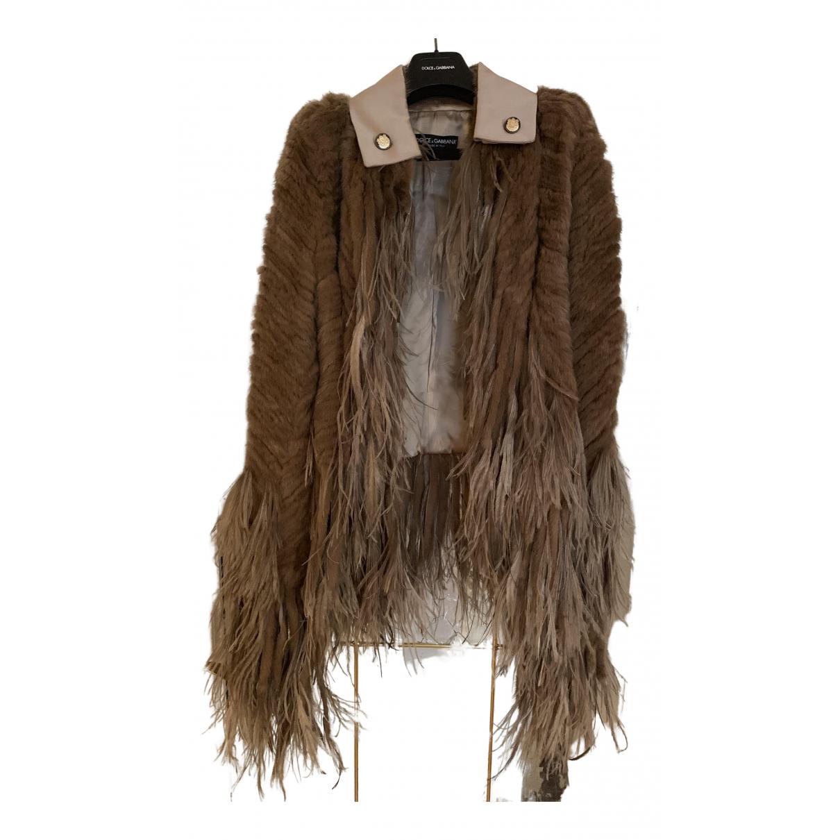 Dolce & Gabbana - Manteau   pour femme en vison - beige