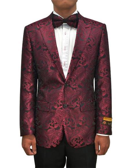 Cheap Mens Printed Flower Jacket Prom modern Tux Burgundy