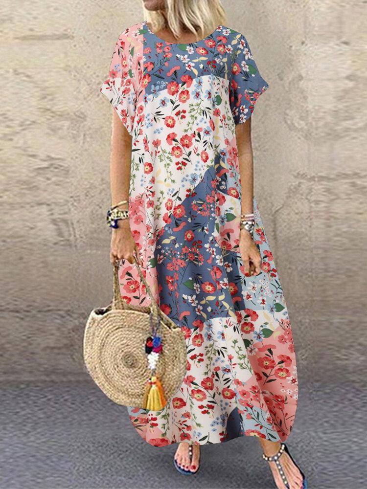 Floral Print Patchwork Short Sleeve A-line Plus Size Dress