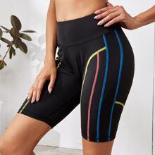 Topstitching Trim Sports Biker Shorts