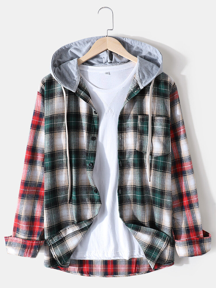 Mens Tartan Patchwork Casual Long Sleeve Drawstring Hooded Shirts With Pocket