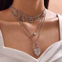2 Stuecke Halskette mit Strass, Buchstaben & Herzen Verschluss Anhaenger