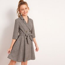 Girls Lapel Collar Double Breasted Belted Plaid Dress