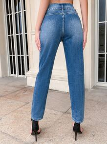 Button Fly Color Block Mom Jeans