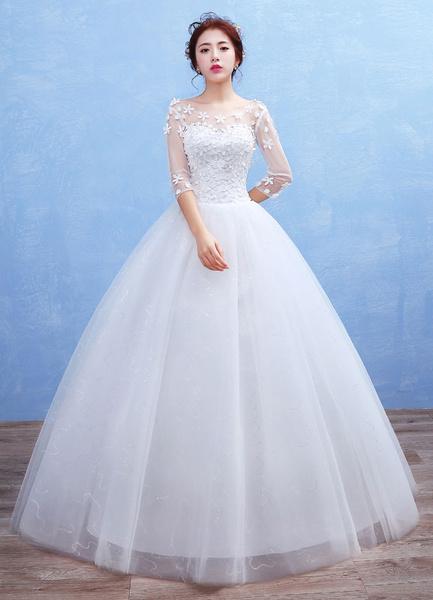 Milanoo Princess Wedding Dress Tulle 3D Flowers Applique Maxi Bridal Gown Illusion Sweetheart Half Sleeve Beading Sequins Floor Length Ball Gown Brida