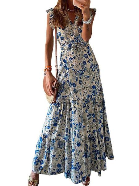 Milanoo Vestidos largos azules Vestido largo estampado floral sin mangas con cuello en V para mujer