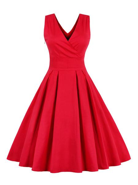Milanoo Pleated Vintage Dresses V-neck Sleeveless Criss-Cross Women's Retro Dress In Red/blue