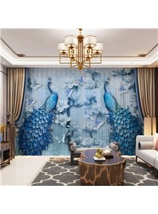 3D Luxury and Elegant Blue Peacock Printed Decorative 2 Panels Custom Sheer