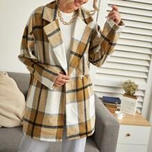 Drop Shoulder Plaid Oversized Pea Coat