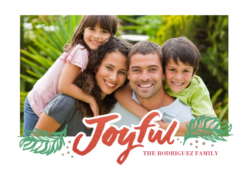 Holiday Photo Cards 5x7 Folded Cards, Premium Cardstock 120lb, Card & Stationery -Very Joyful Red