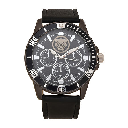 Marvel Avengers Mens Black Leather Strap Watch-Avg5042, One Size , No Color Family