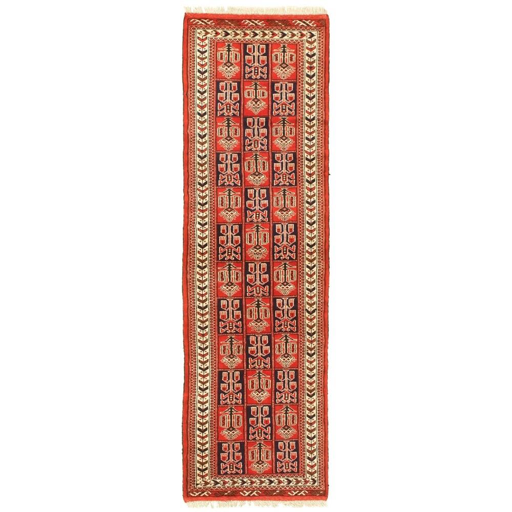ECARPETGALLERY Hand-knotted Turkman Dark Copper Wool Rug - 2'8 x 9'5 (Dark Copper - 2'8 x 9'5)