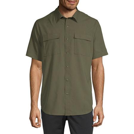 St. John's Bay Outdoor Mens Short Sleeve Button-Down Shirt, Small , Green