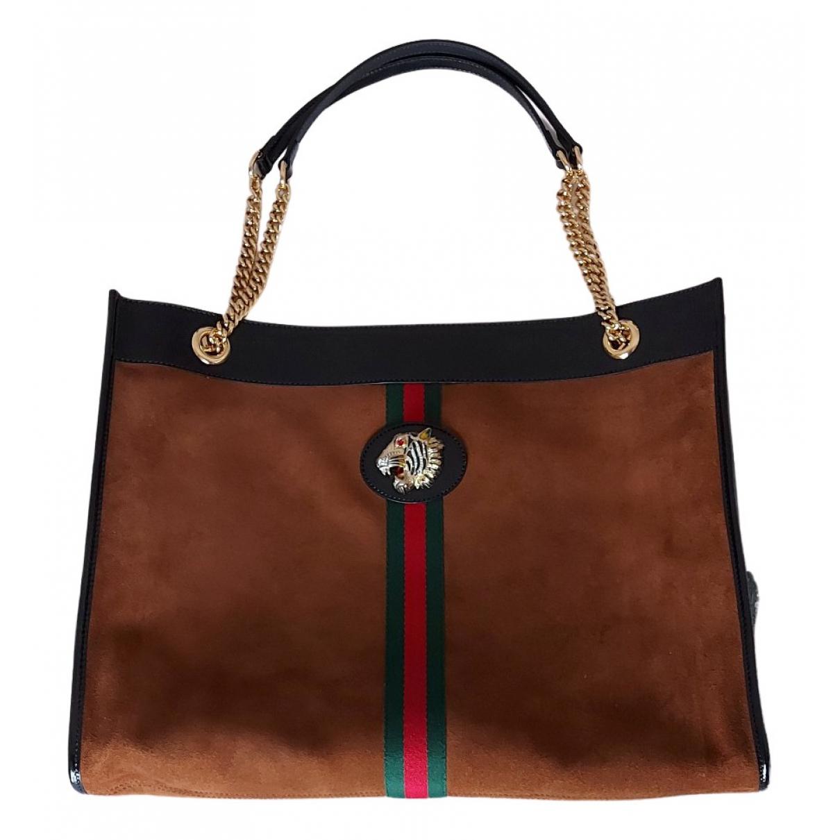 Gucci Rajah Handtasche in  Braun Veloursleder