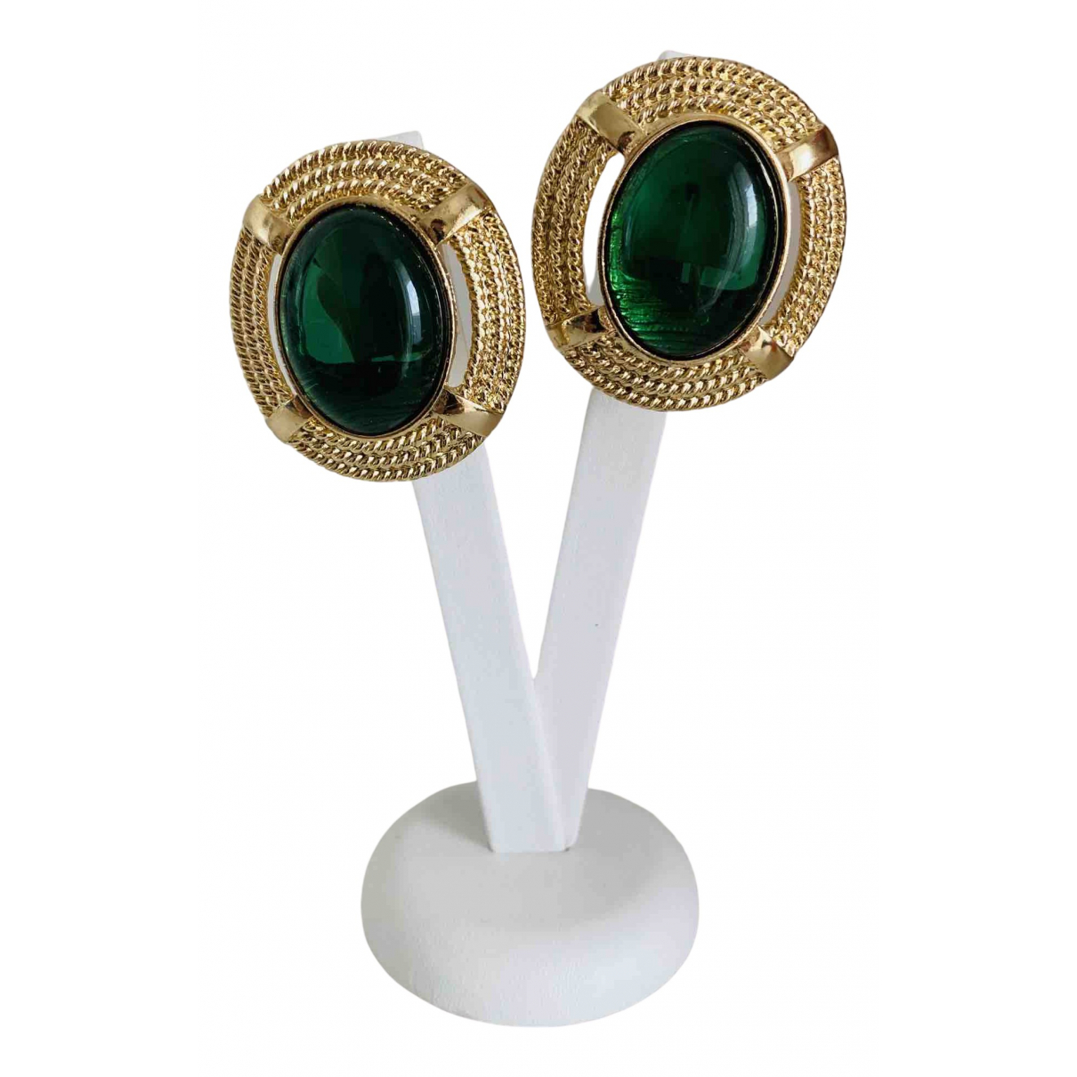 Non Signé / Unsigned Art Déco Green Metal Earrings for Women \N